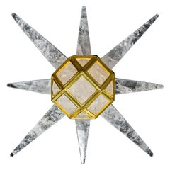 Starburst Rock Crystal 24-Karat Gold-Plated Bronze Wall-Light Sculpture
