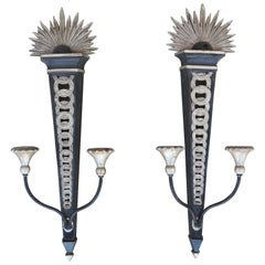 Starburst Silver Gilded and Painted Wall Sconces by Palladio