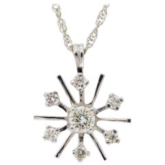 Starburst Snowflake Diamond Pendant Necklace