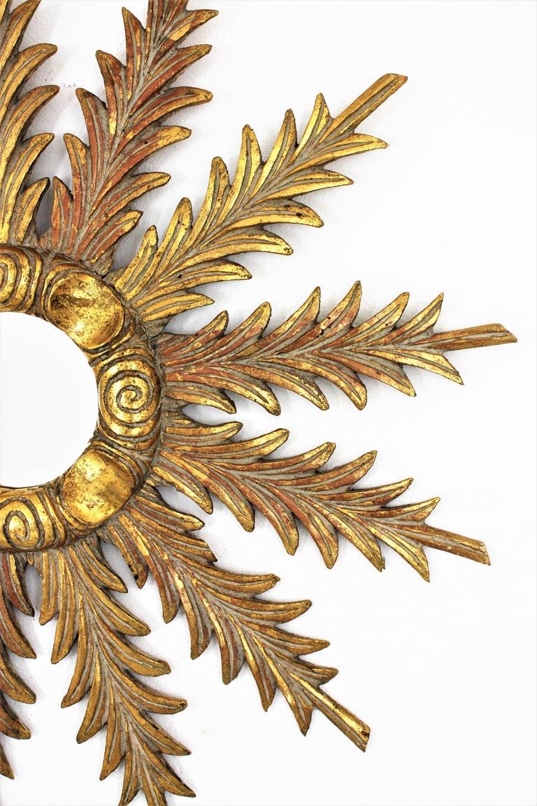 Starburst Sunburst Carved Giltwood Mirror, Spain, 1930s For Sale 5