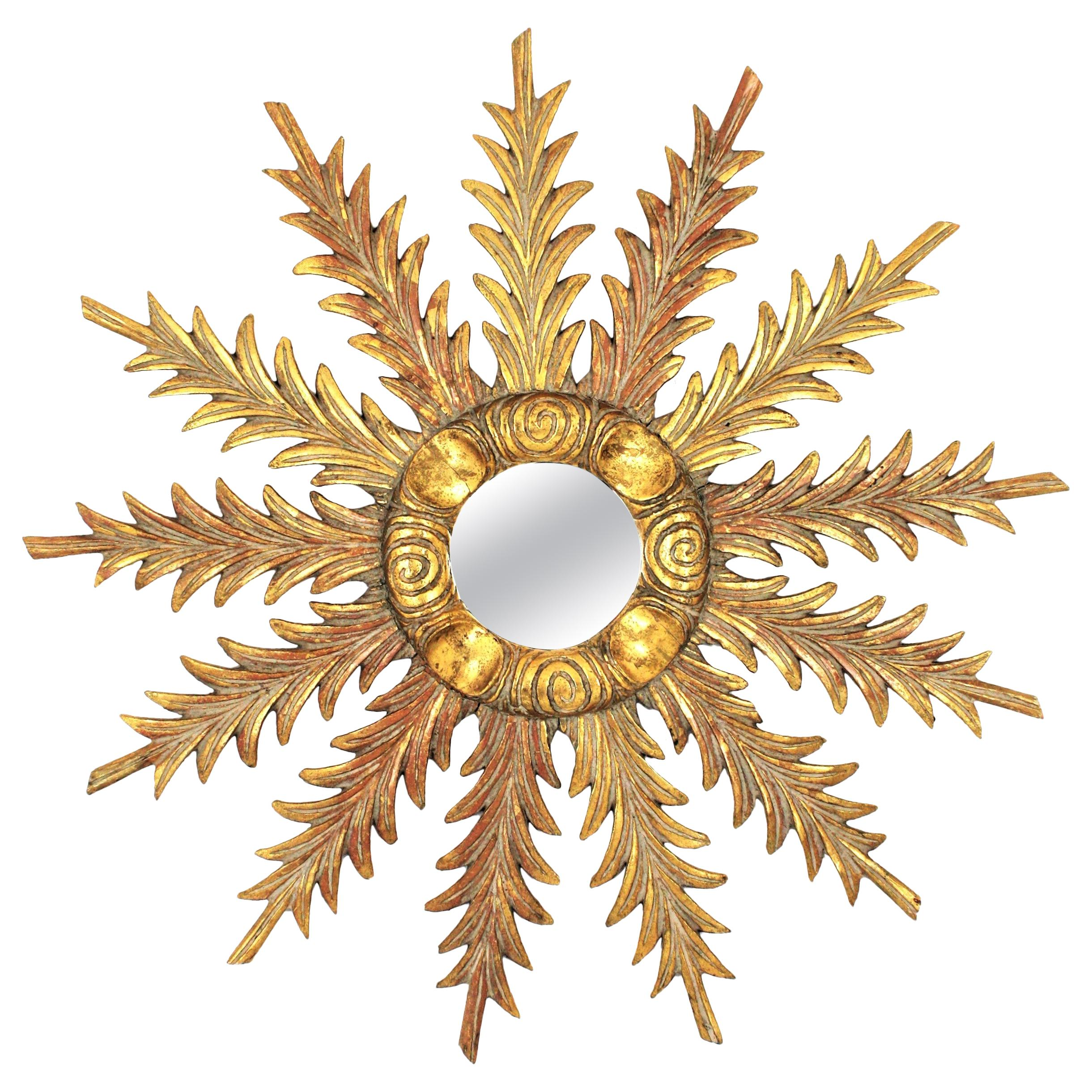 Starburst Sunburst Carved Giltwood Mirror, Spain, 1930s