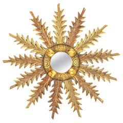 Starburst Sunburst Carved Giltwood Mirror, Spain, 1930s