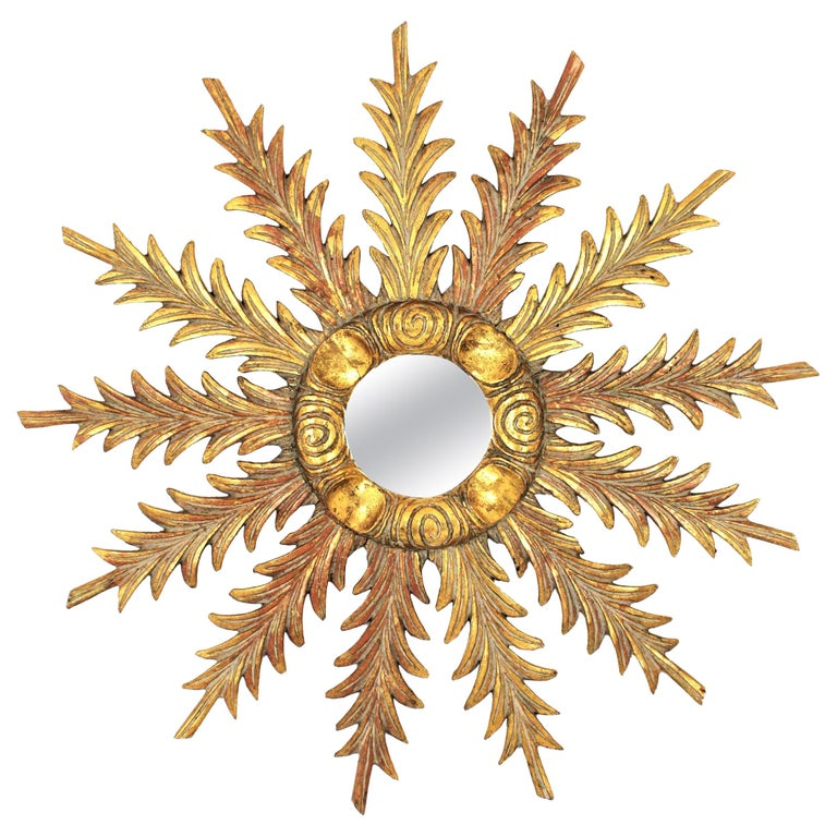 Starburst Sunburst Carved Giltwood Mirror, Spain, 1930s For Sale
