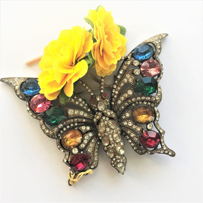 STARET BUTTERLY brooch gorgeous rhinestone decoration 1940s USA For Sale 4