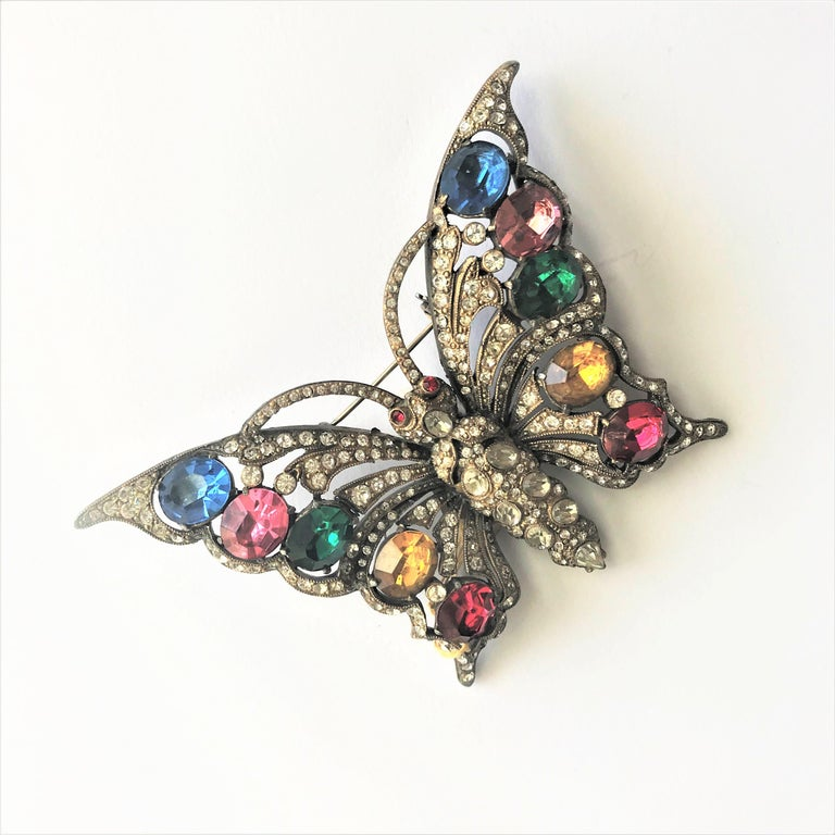 STARET BUTTERLY brooch gorgeous rhinestone decoration 1940s USA For Sale 5