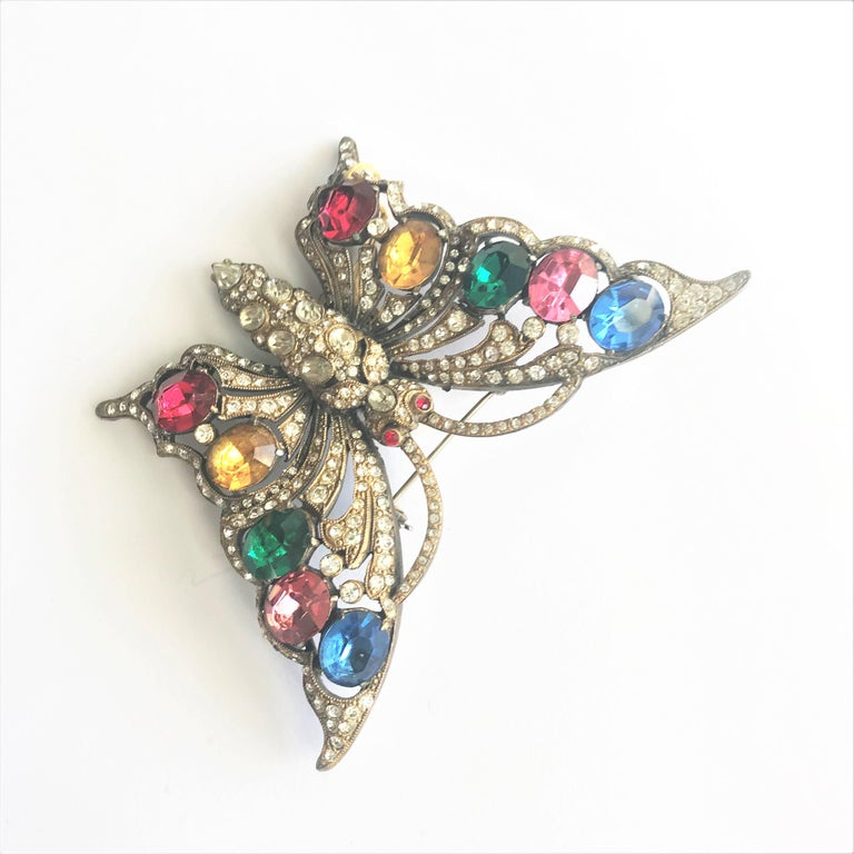 STARET BUTTERLY brooch gorgeous rhinestone decoration 1940s USA For Sale 6