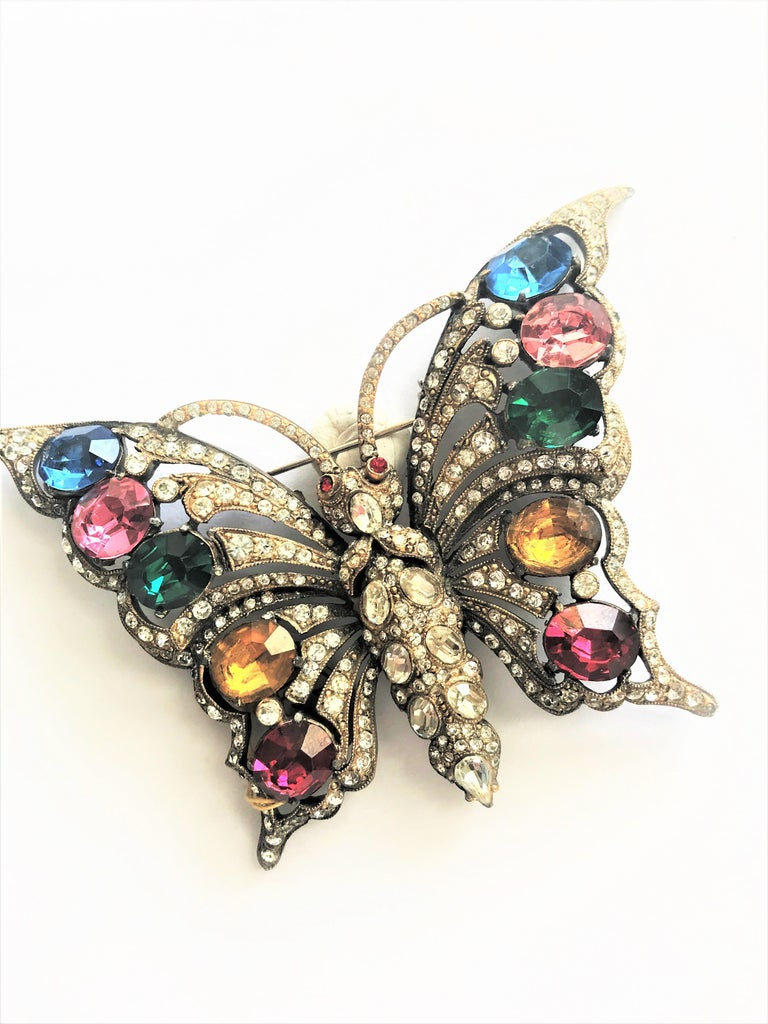 STARET BUTTERLY brooch gorgeous rhinestone decoration 1940s USA For Sale 7