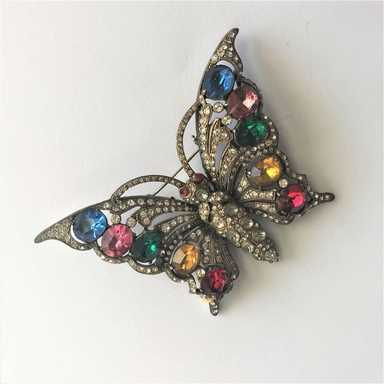Artisan STARET BUTTERLY brooch gorgeous rhinestone decoration 1940s USA For Sale