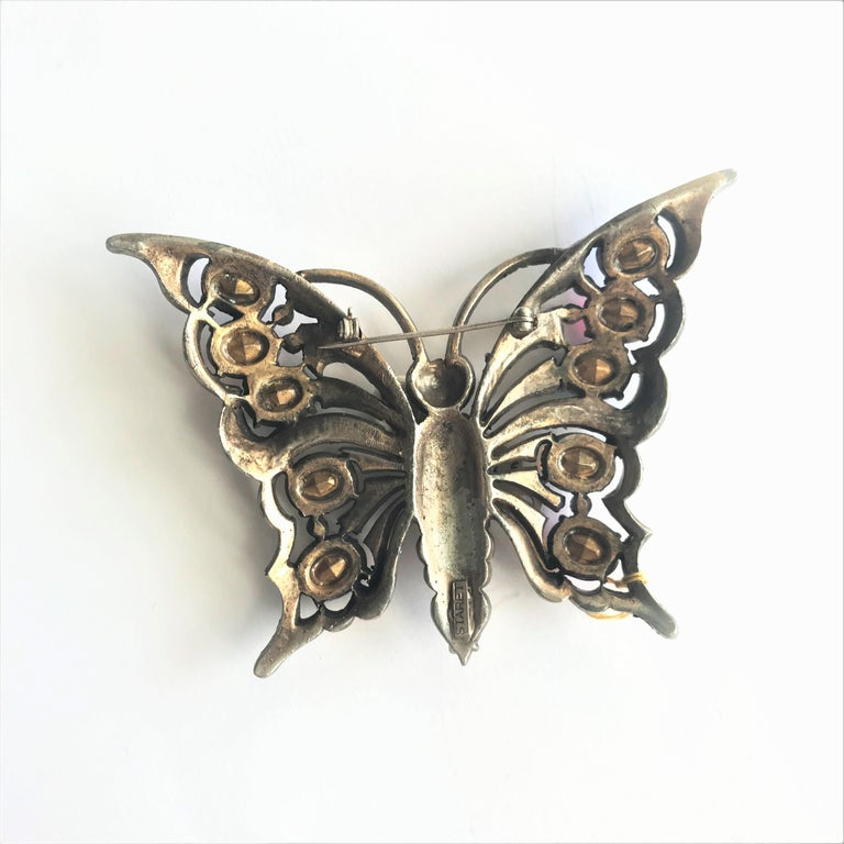 Oval Cut STARET BUTTERLY brooch gorgeous rhinestone decoration 1940s USA For Sale