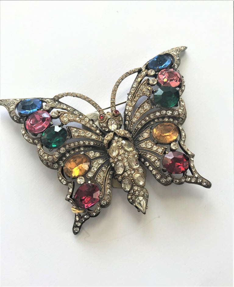 STARET BUTTERLY brooch gorgeous rhinestone decoration 1940s USA For Sale 1