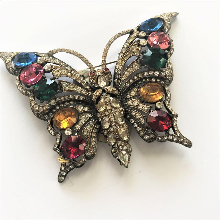 STARET BUTTERLY brooch gorgeous rhinestone decoration 1940s USA For Sale 2