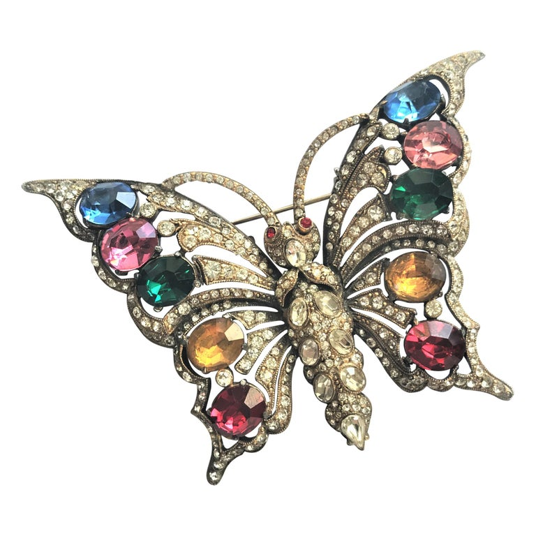 STARET BUTTERLY brooch gorgeous rhinestone decoration 1940s USA For Sale