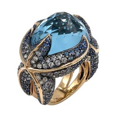 """Starfish"" 18k Rose Gold and Blue Topaz Ring"