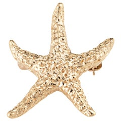 Starfish Brooch Pin Vintage 14 Karat Gold Textured Estate Fine Marine Jewelry