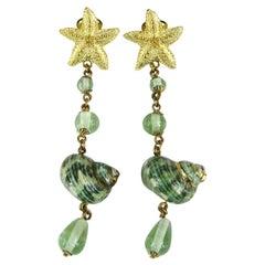 "Starfish Earrings Shell Glass Beaded  New, Never Worn 4"" Long"