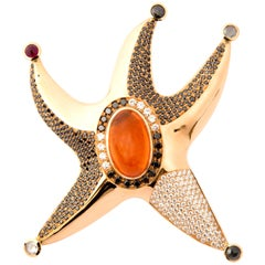 Starfish Pendant with Fire Opal 15.8 Carat and Diamonds in Red Gold 18 Karat