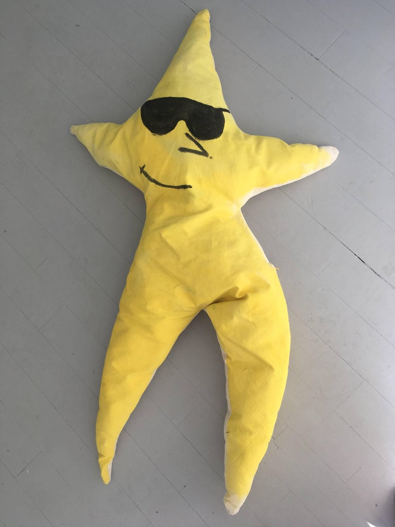 Modern Starfish with Sunglasses / Hand-Painted Oversized Yellow Pillow by Superpoly For Sale
