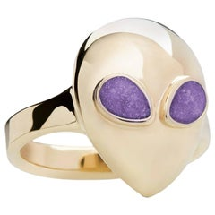 Stargaze Alien Pinky, Limited Edition 9 Karat Yellow Gold Purple Enamel Ring