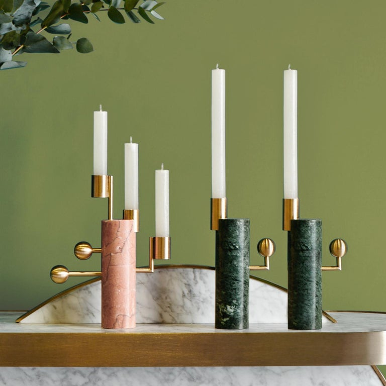 Modern Stargazer Candleholders, Verde Guatemala Marble and Brass, Set of Two, in Stock For Sale