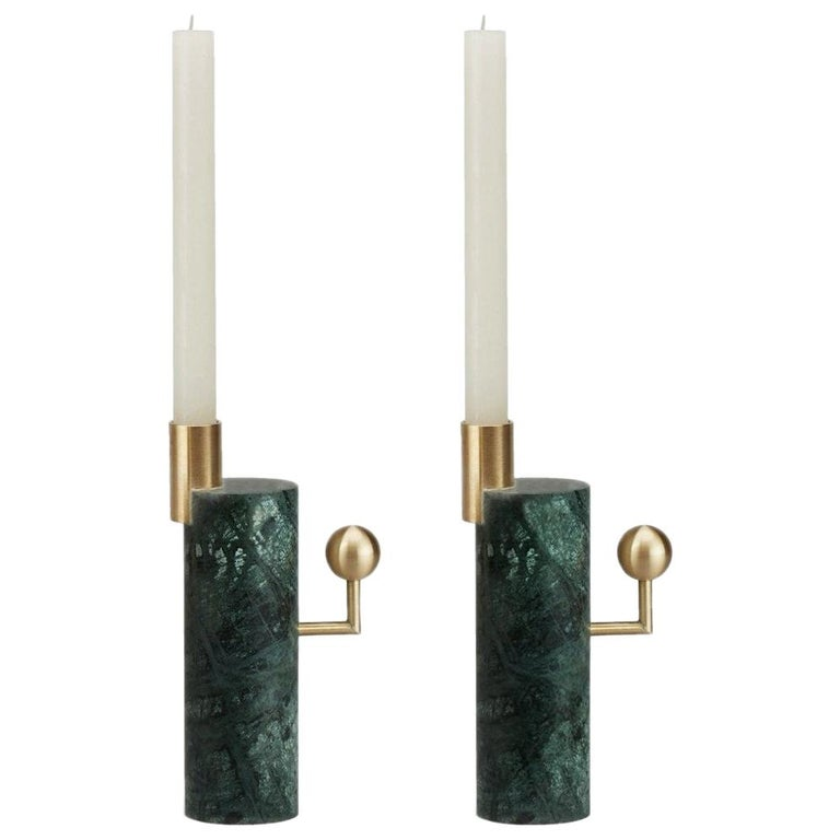 Stargazer Candleholders, Verde Guatemala Marble and Brass, Set of Two, in Stock For Sale