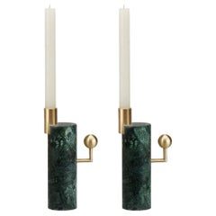 Stargazer Candleholders, Verde Guatemala Marble and Brass, Set of Two, in Stock