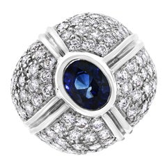 Starry Crossroads Diamond and Sapphire Dome Fashion Ring in White Gold