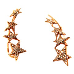 Stars Diamond and 18 Karat Rose Gold Cuff Earrings