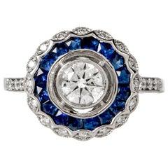 Starter Blue Sapphire Diamond Platinum Ring