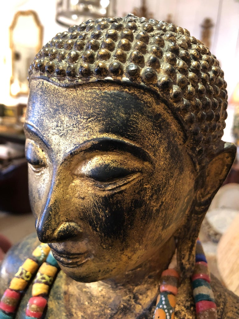 19th Century Startlingly Beautiful Bronze Bejeweled Thai Buddha Statue For Sale