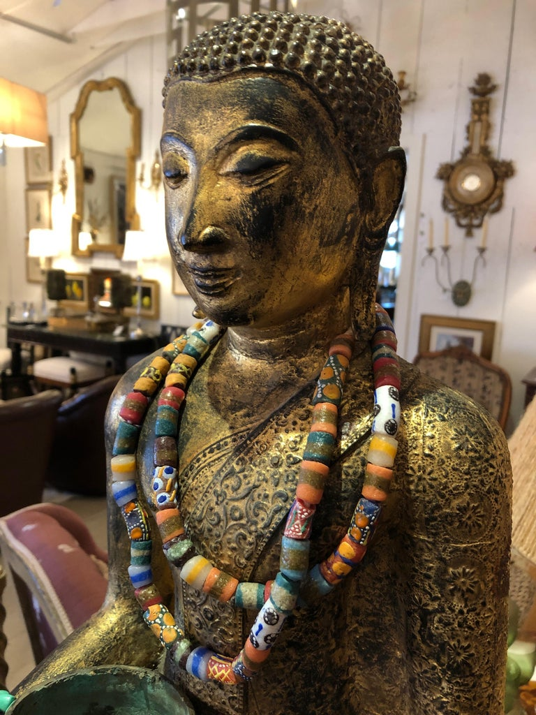 Startlingly Beautiful Bronze Bejeweled Thai Buddha Statue For Sale 1
