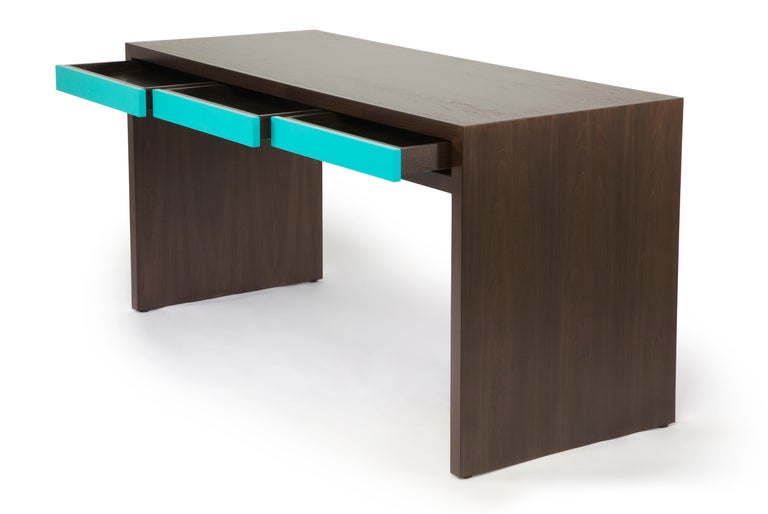 Contemporary Stash Desk lacquer and walnut , lacquer drawers, lacquer and wood desk,waterfall For Sale