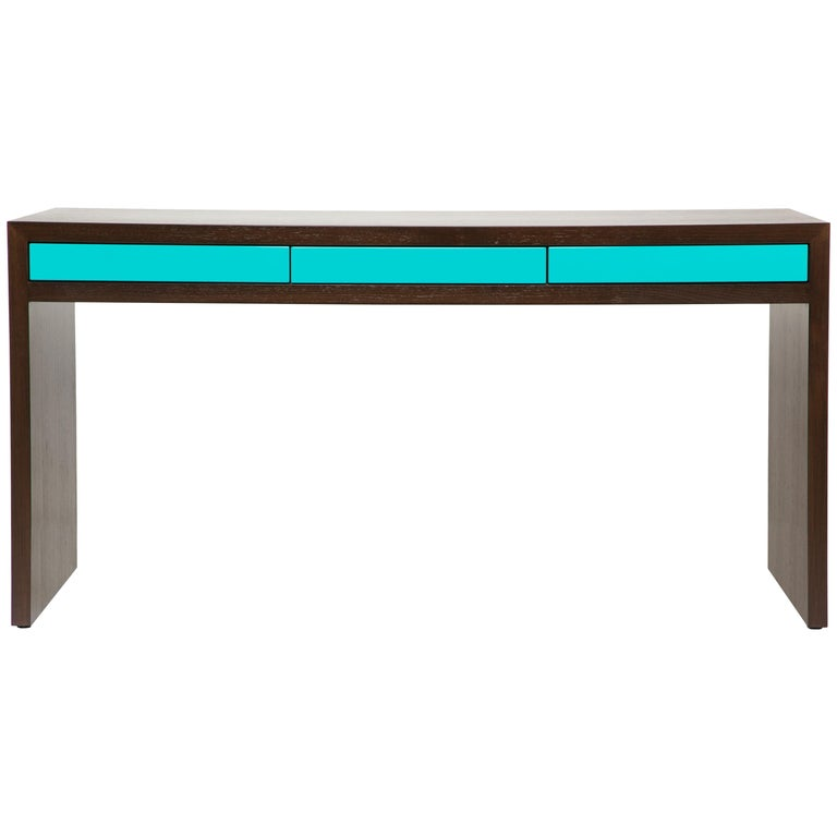 Stash Desk lacquer and walnut , lacquer drawers, lacquer and wood desk,waterfall For Sale