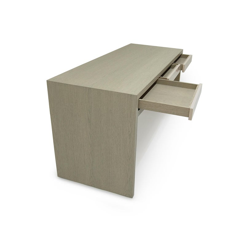 Stash Desk lacquer and walnut , lacquer drawers, lacquer and wood desk,waterfall For Sale 4