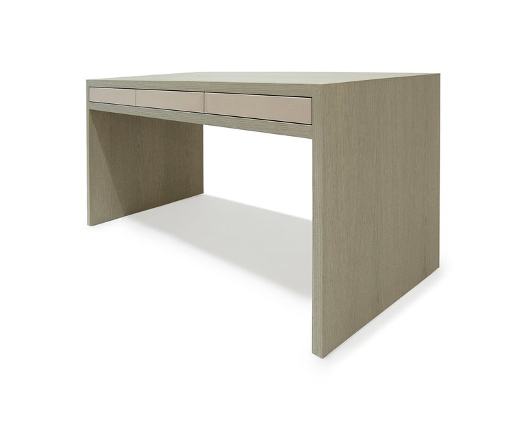 Stash Desk lacquer and walnut , lacquer drawers, lacquer and wood desk,waterfall For Sale 1