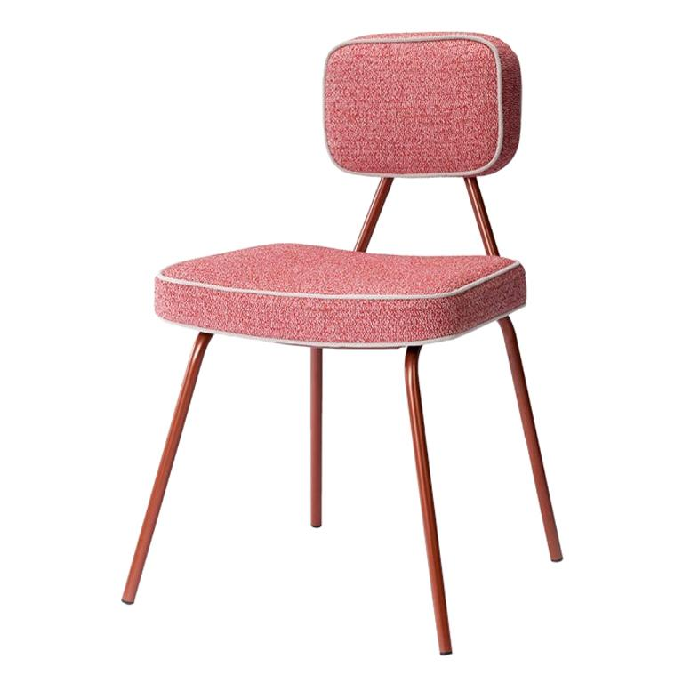 Pink Dining Chair State with Lacquered Metal and Upholstery New