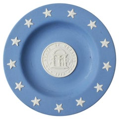 State of Georgia Jasperware Collectible Plate in Blue and Cream by Wedgwood