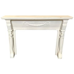 Stately 19th Century Federal Carved White Fireplace Mantel with Columns