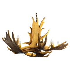 Stately Fallow Deer Eight Light Chandelier, Great Scale and Patina