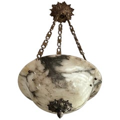 Stately French Alabaster Pendant Light / Chandelier with Bronze Chain & Canopy