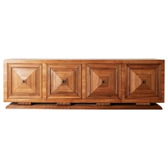 Stately French Late Deco Credenza in Walnut, 1940s