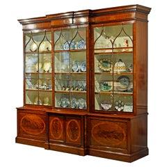 Stately Large George III Satinwood Inlay Mahogany Breakfront Bookcase