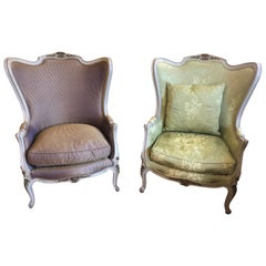 Stately Pair of French Louis XV Style Painted Gilded Beechwood Bergere Chairs