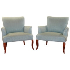 Stately Pair of Powder Blue Armchairs