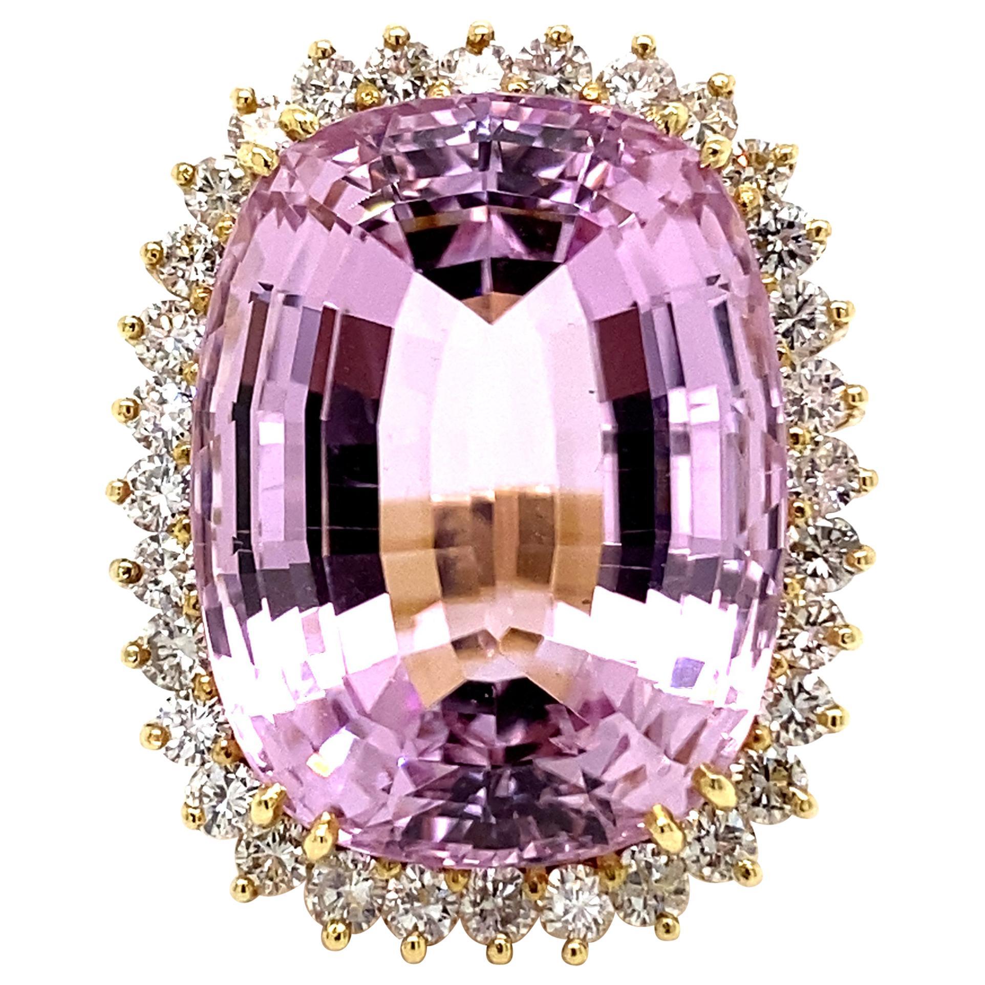 Statement 47 Carat Kunzite with Diamond Halo Ring Yellow Gold
