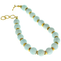Gemjunky Statement Aquamarine Choker with Goldy Accents