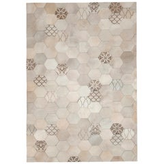 Statement, Beautiful Laser Burn Atomo Cream Cowhide Area Floor Rug Small