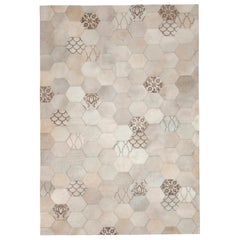 Laser Burn patterned motif Atomo Cream Cowhide Area Floor Rug - large