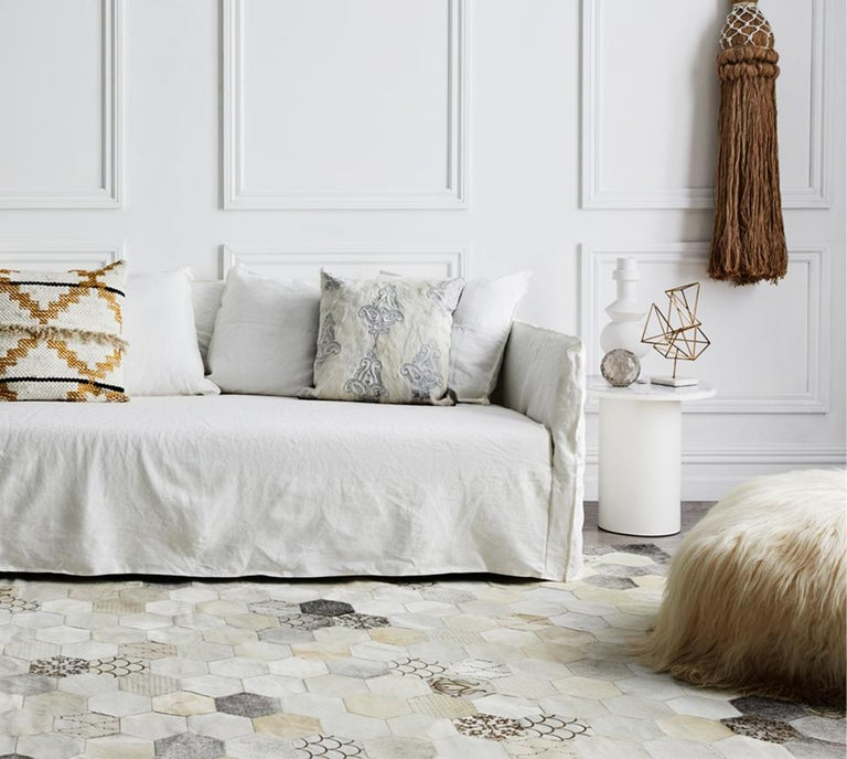 American Statement, Beautiful Laser Burn Atomo Grey and Cream Cowhide Area Floor Rug For Sale