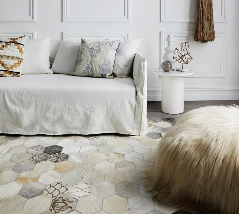 Machine-Made Statement, Beautiful Laser Burn Atomo Grey and Cream Cowhide Area Floor Rug For Sale