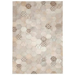 Statement Beautiful Laser Burn Atomo Grey and Cream Cowhide Area Floor Rug Small